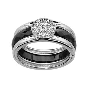 1001 Bijoux - Bague argent rhodié anneau céramique noir avec cabochon oxydes blancs sertis pas cher