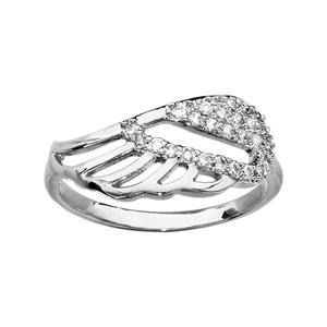 1001 Bijoux - Bague argent rhodié motif aile d'ange ajourée et oxydes blancs sertis pas cher