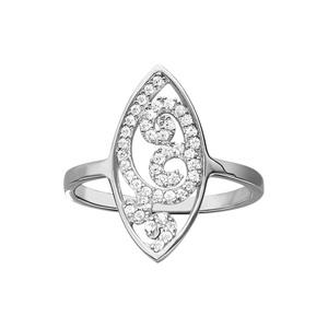 1001 Bijoux - Bague argent rhodié forme amande arabesque oxydes blancs sertis pas cher