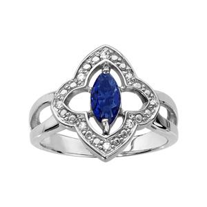 1001 Bijoux - Bague argent rhodié motif fleur oxydes blancs sertis et navette pierre bleue pas cher