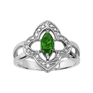 1001 Bijoux - Bague argent rhodié motif fleur oxydes blancs sertis et navette pierre verte pas cher