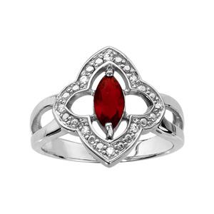 1001 Bijoux - Bague argent rhodié motif fleur oxydes blancs sertis et navette pierre rouge pas cher