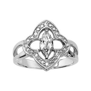 1001 Bijoux - Bague argent rhodié motif fleur oxydes blancs sertis et navette pierre blanche pas cher