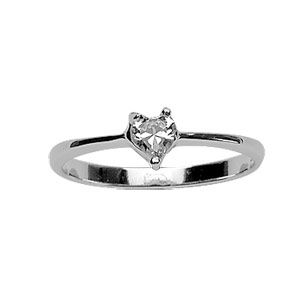 Bague Argent solitaire taille coeur zirconia blanc serti