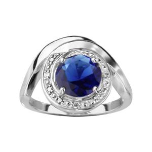 1001 Bijoux - Bague argent rhodié forme spirale pierre bleu et oxydes blancs sertis pas cher