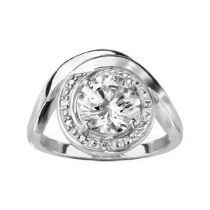 1001 Bijoux - Bague argent rhodié forme spirale pierre blanche et oxydes blancs sertis pas cher