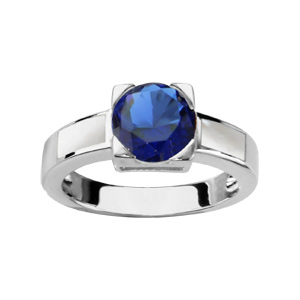 1001 Bijoux - Bague argent rhodié avec nacre blanche et pierre ronde bleu foncé pas cher