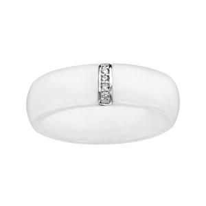 1001 Bijoux - Bague argent rhodié céramique blanche barrette oxydes blancs micro sertis pas cher