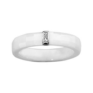 1001 Bijoux - Bague argent rhodié céramique blanche facettes barrette oxydes blancs micro sertis pas cher