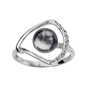 1001 Bijoux - Bague argent rhodié perle synthétique grise avec oxydes blancs sertis pas cher