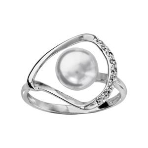 1001 Bijoux - Bague argent rhodié perle synthétique blanche avec oxydes blancs sertis pas cher