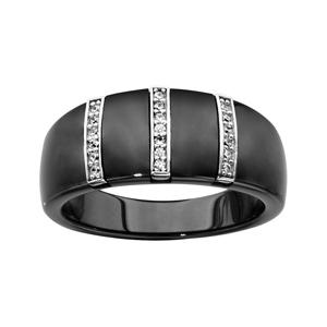 1001 Bijoux - Bague argent rhodié anneau céramique noire 3 barrettes oxydes micro sertis blancs pas cher