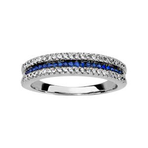 1001 Bijoux - Bague argent rhodié 3 rangs 2 oxydes blancs sertis 1 rang pierres bleues pas cher