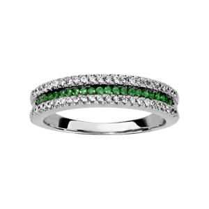 1001 Bijoux - Bague argent rhodié 3 rangs 2 oxydes blancs sertis 1 rang pierres vertes pas cher