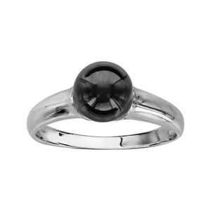 1001 Bijoux - Bague argent rhodié boule céramique noire pas cher