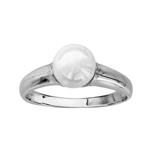 1001 Bijoux - Bague argent rhodié boule céramique blanche pas cher