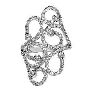 1001 Bijoux - Bague argent rhodié volutes oxydes blancs sertis pas cher