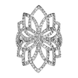 1001 Bijoux - Bague argent rhodié forme fleur oxydes blancs sertis pas cher