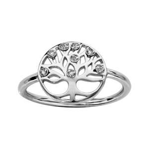 1001 Bijoux - Bague argent rhodié rondelle motif arbre de vie pierres blanches pas cher