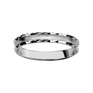 Alliance En argent rhodié 3mm finition satinée et bords diamantés brillants