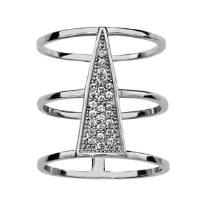 1001 Bijoux - Bague argent rhodié large motif triangle pavé oxydes blancs sertis pas cher