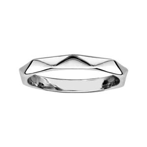 Image of Bague argent rhodié formes géometriques lisses