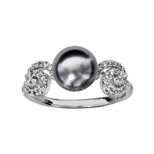 1001 Bijoux - Bague argent rhodié spirale oxydes blancs sertis avec perle grise pas cher