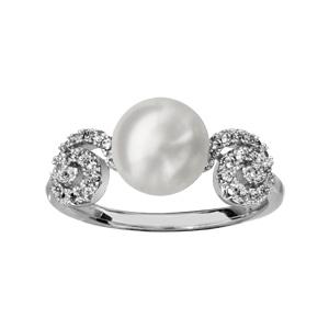 1001 Bijoux - Bague argent rhodié spirale oxydes blancs sertis avec perle d'eau douce blanche pas cher
