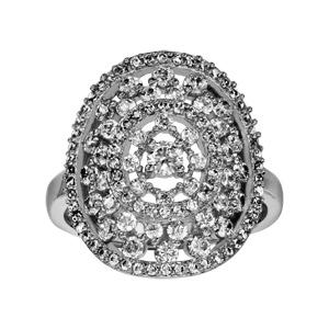 Image of Bague argent rhodié forme ovale ajourée oxydes blancs sertis