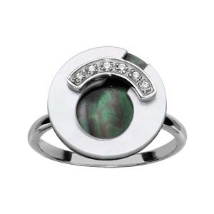 1001 Bijoux - Bague argent rhodié rondelle nacre blanche et noire et oxydes blancs sertis pas cher