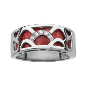 Image of Bague argent rhodié anneau corail gorgone et oxydes blancs