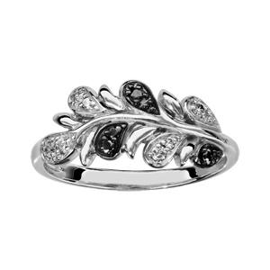 1001 Bijoux - Bague argent rhodié motif feuilles pierres noires et oxydes blancs sertis pas cher