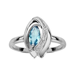 1001 Bijoux - Bague argent rhodié navette pierre bleu ciel entourage oxydes blancs sertis pas cher