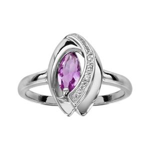 1001 Bijoux - Bague argent rhodié navette pierre violette entourage oxydes blancs sertis pas cher