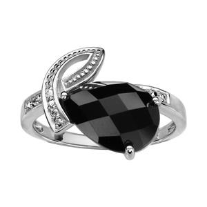 1001 Bijoux - Bague argent rhodié goutte pierre noire facettes et oxydes blancs sertis pas cher