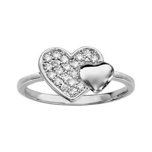 Image of Bague argent rhodié double coeur pave oxydes blancs et lisse