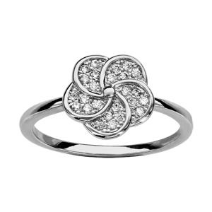 1001 Bijoux - Bague argent rhodié forme fleur oxydes blancs pas cher