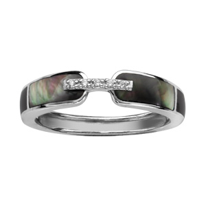 1001 Bijoux - Bague argent rhodié anneau nacre noire et oxydes blancs sertis pas cher