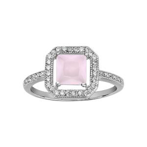 1001 Bijoux - Bague argent rhodié solitaire forme carrée rose et oxydes blancs sertis pas cher
