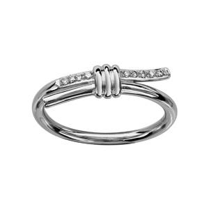 1001 Bijoux - Bague argent rhodié anneau avec oxydes blancs sertis pas cher