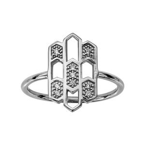 1001 Bijoux - Bague argent rhodié forme géometrique oxydes blancs sertis pas cher