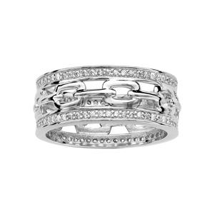 Bague En argent rhodié anneau large motif maille ajourée contour oxydes blancs sertis