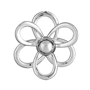 Image of Bague argent fleur découpée avec boule