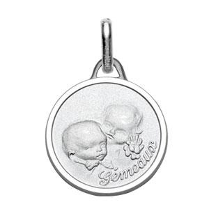 Médaille Argent rhodié zodiaque gemeaux pour bébé diamantée