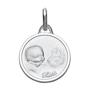 Médaille Argent rhodié zodiaque lion pour bébé diamantée