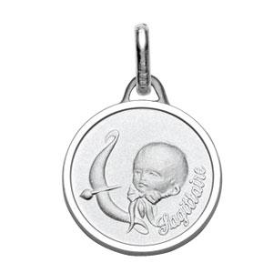 Médaille Argent rhodié zodiaque sagittaire bébé diamantée