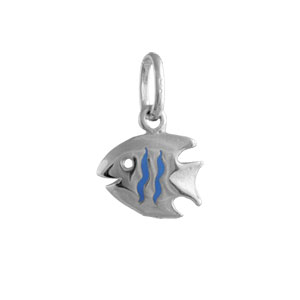Image of Pendentif enfant argent rhodié poisson bleu
