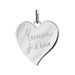 Image of Pendentif argent rhodié coeur gravé maman je t'aime