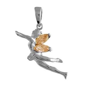 Image of Pendentif argent rhodié danseuse ailes pierres oranges