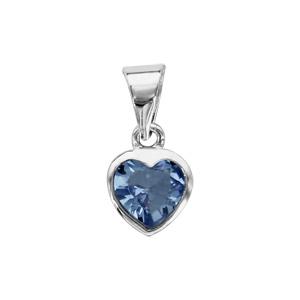 1001 Bijoux - Pendentif argent rhodié coeur pierre bleue pas cher